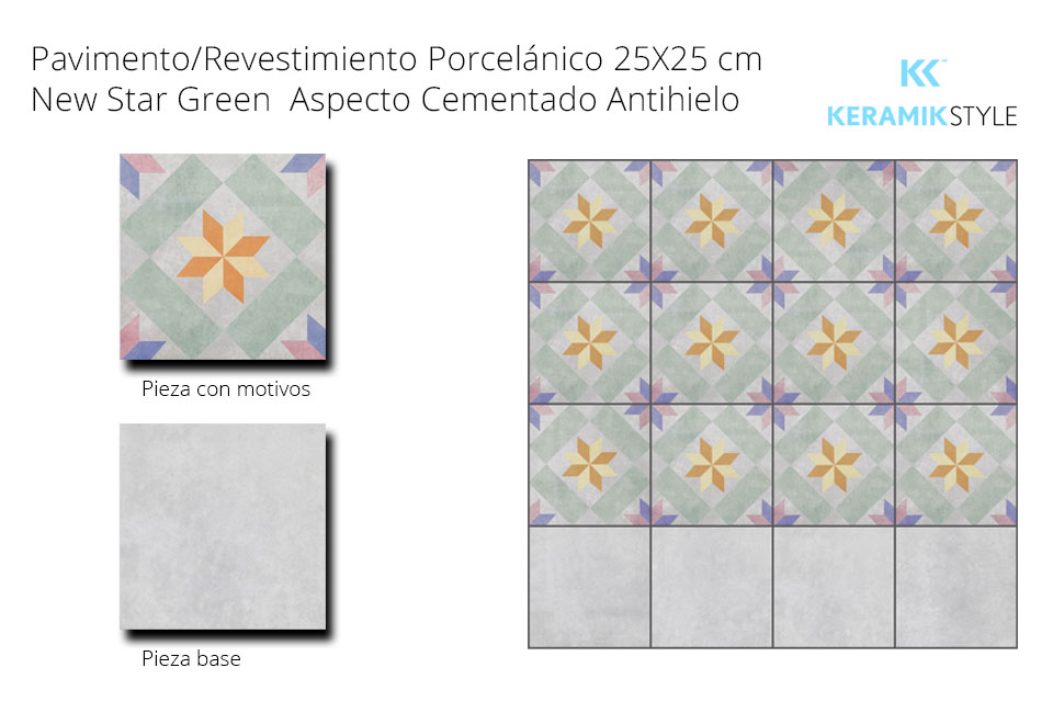 Pavimento/Revestimiento NEW STAR GREEN 25X25