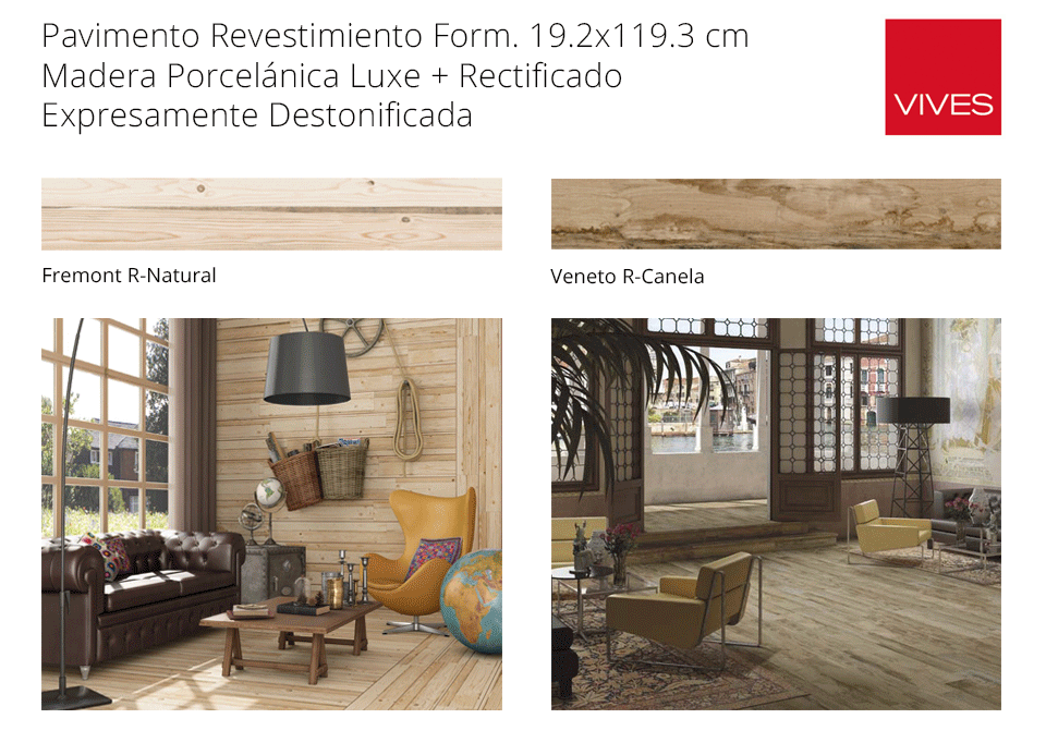 Pavimento madera porcelánica rectificada Vives cerámica Veneto y fremont