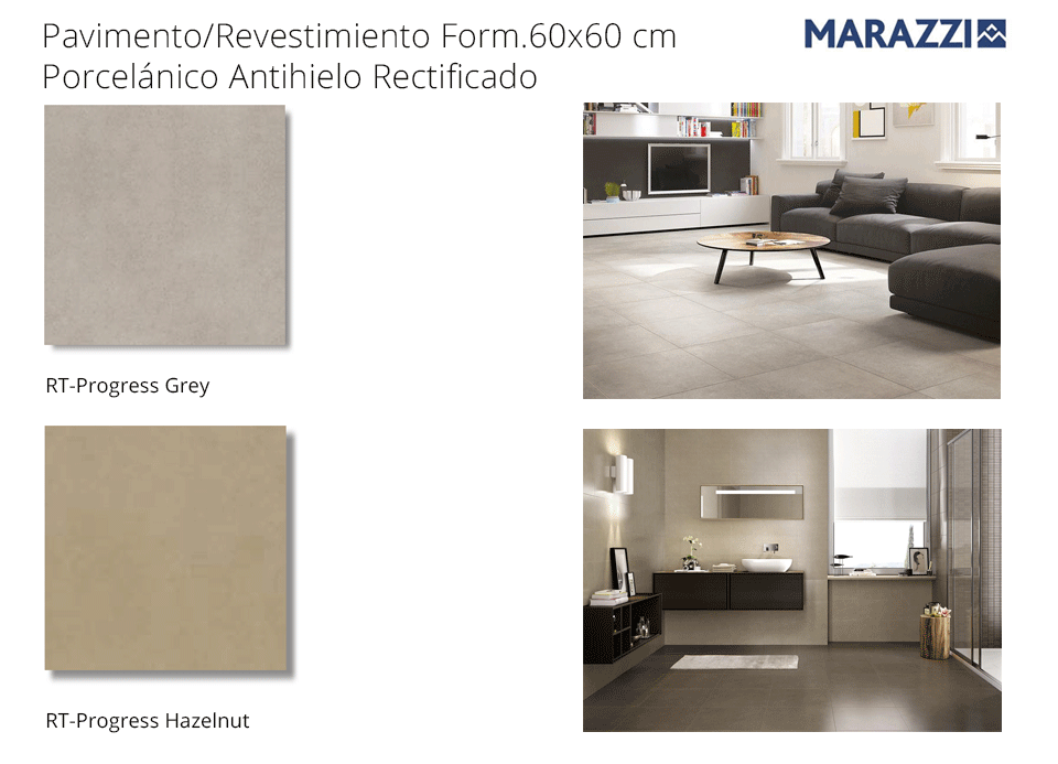 Pavimento porcelánico rectificado 60x60 Progress de Marazzi
