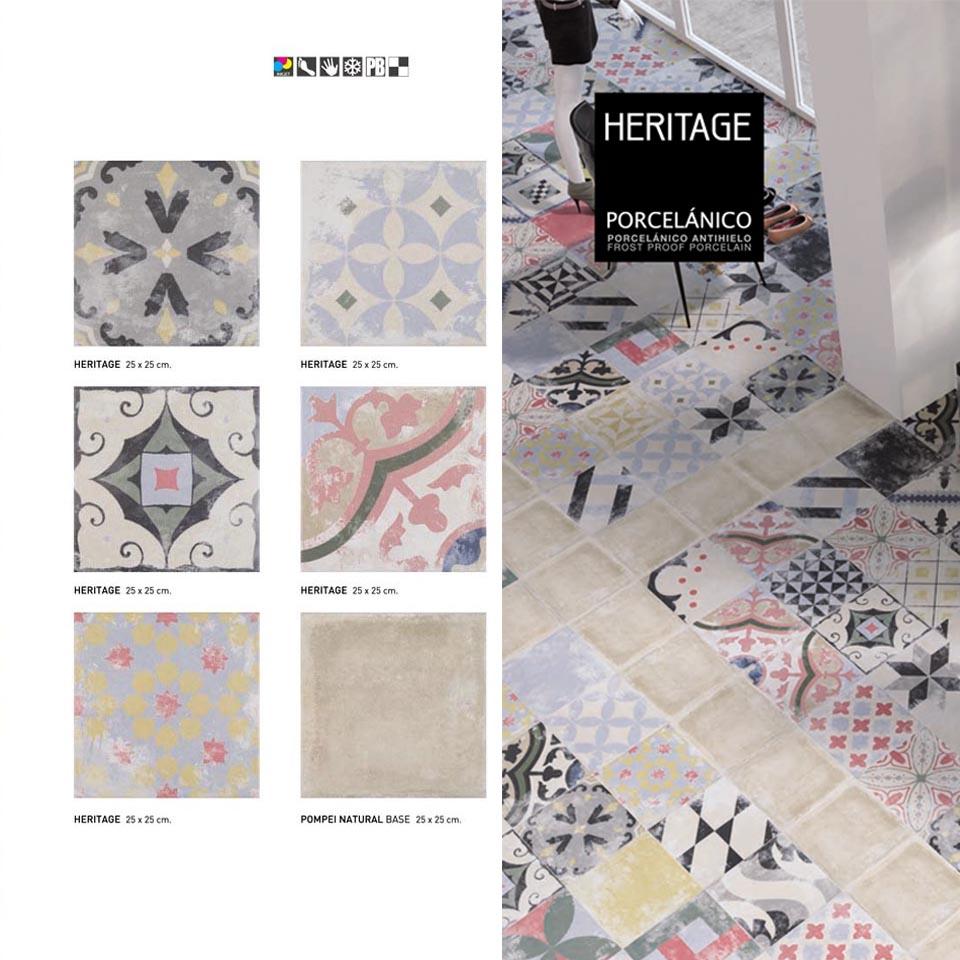 Pavimento o revestimiento hidraúlico porcelánico Heritage Mix