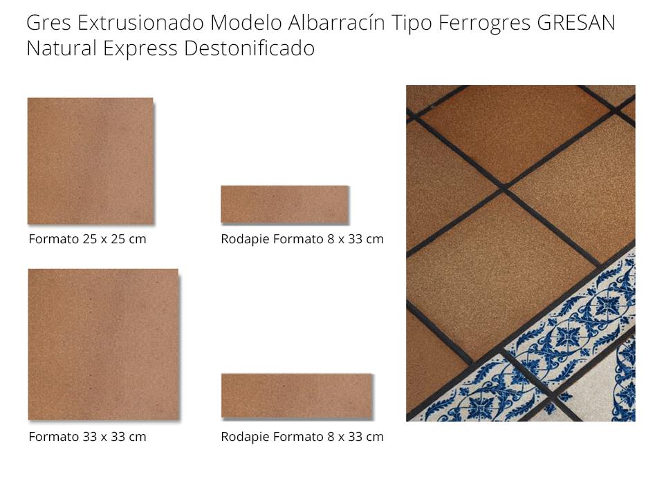gres Extrusionado Albarracín tipo Ferrogres 25x25cm y 33x33cm