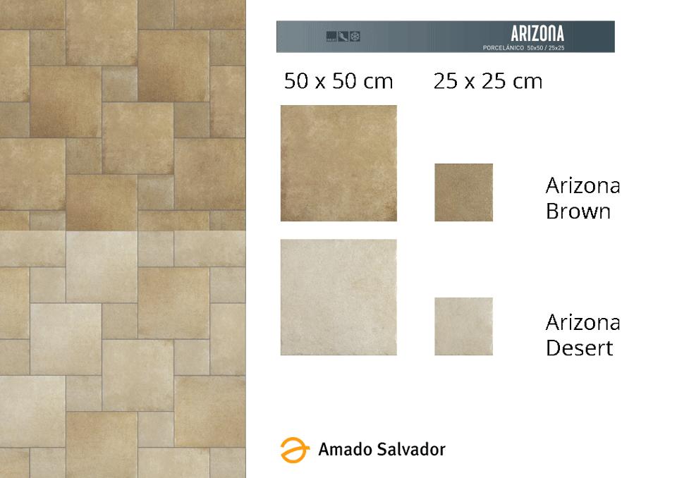 Pavimento o revestimiento porcelánico de formato 50 x 50 cm y 25 x 25