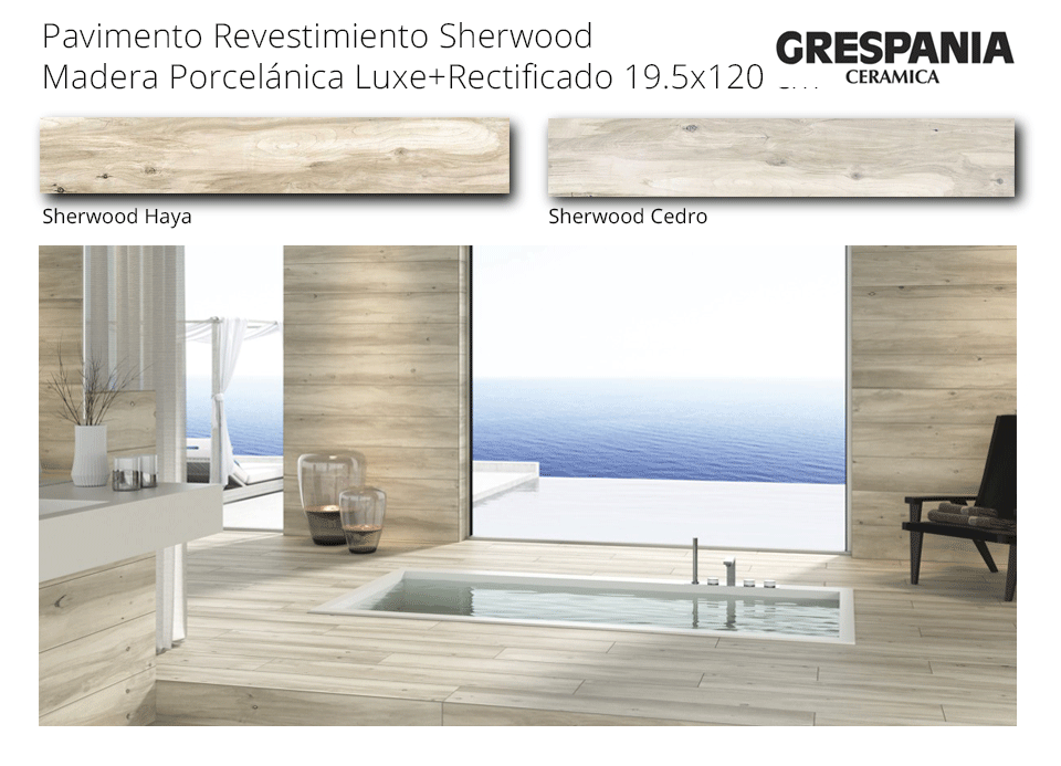 revestimiento pavimento sherwood haya y cedro de 19.5x120