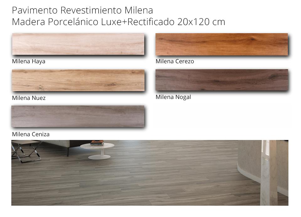 pavimento madera porcelánica milena 20 x 120 cm