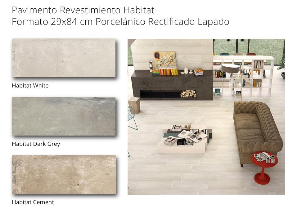 pavimento revestimiento habitat de 29 porcelanico recficado de 29x84 cmcm
