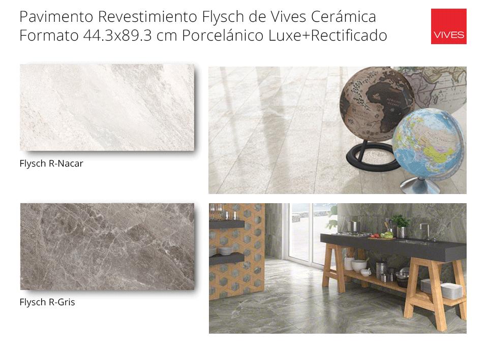 pavimento revestimiento flysch de vives recficado porcelánico de 44x89 cm