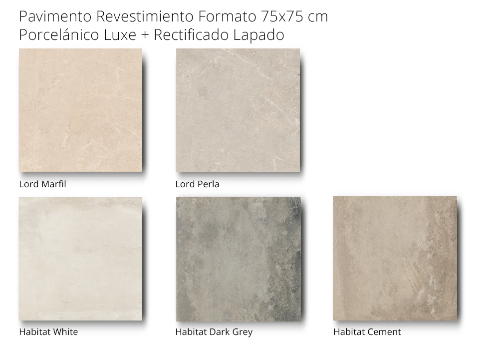 pavimento revestimiento lord habitat porcelánico rectificado lapado de 75 x 75 cm