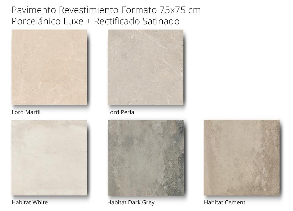 pavimento revestimiento lord habitat porcelánico rectificado satinado de 75 x 75 cm