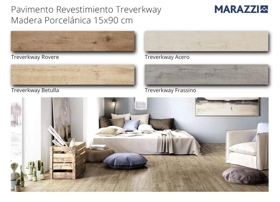 pavimento madera porcelánica treverkway de marazzi de 15 x 90 cm