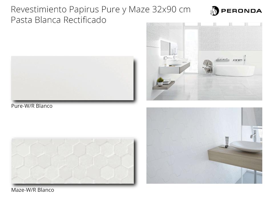 pavimento revestimiento pure y maze de peronda pasta blanca rectificado de 32x90 cm