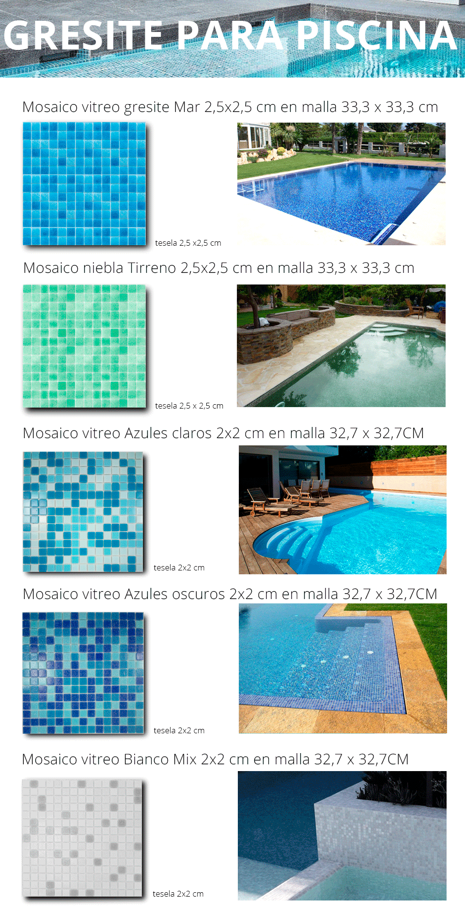 Revestimientos vitreos gresite para piscina o platos de ducha