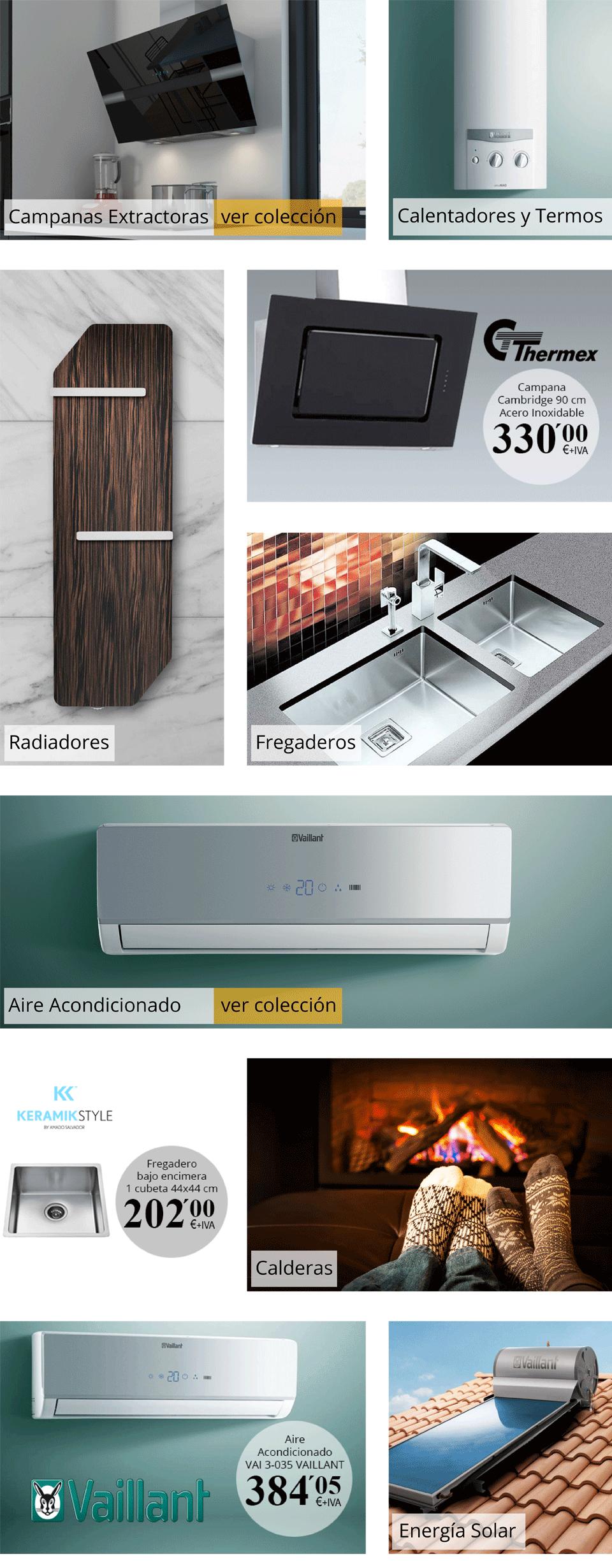 electrodomésticos en Amado Salvador, termos, calderas,radiadores
