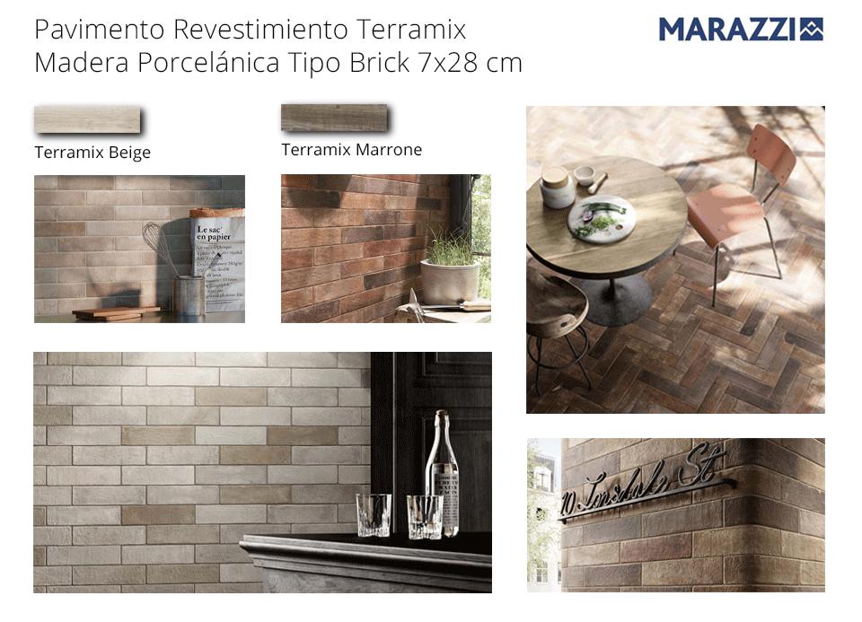 revestimiento pavimento terramix 7x28 cm brick Marazzi