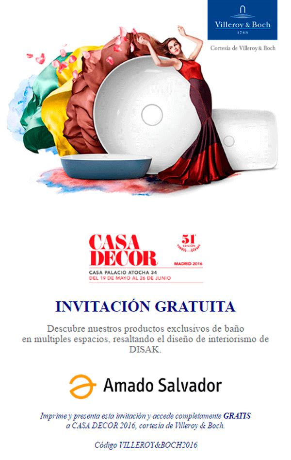 Invitación Villeroy & Boch Casa Decor 2016