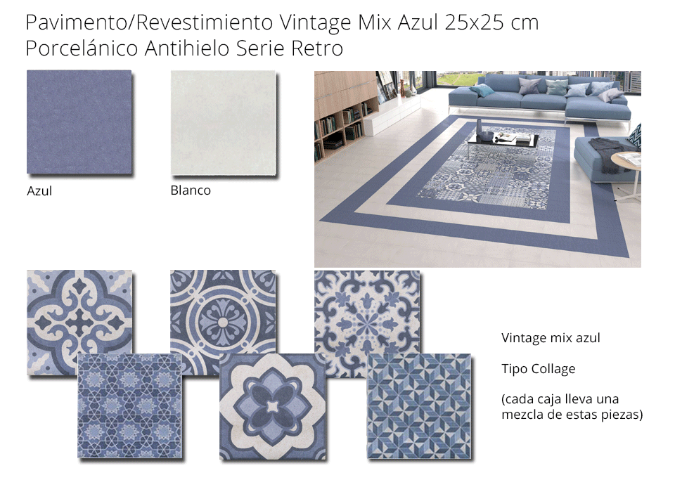 Azulejo porcelánico 25x25 cm Vintage Mix azul
