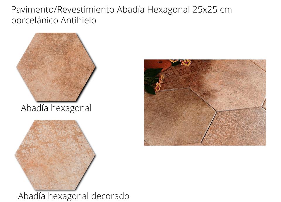 Pavimento hexagonal porcelánico Abadia hex.