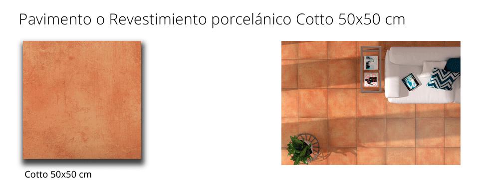 Revestimiento porcelánico cotto 50x50 cm