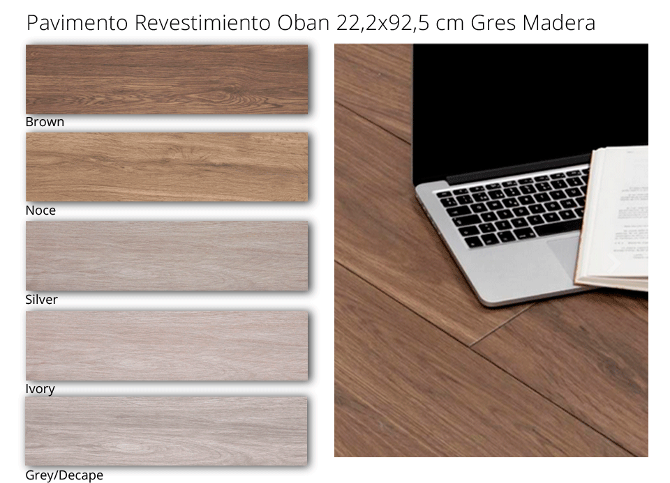 Pavimento o revestimiento gres tarima Oban 22,2x92,5 cm