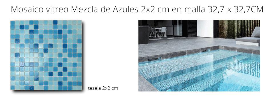 gresite de piscina mosaico vítreo mezcla de azules