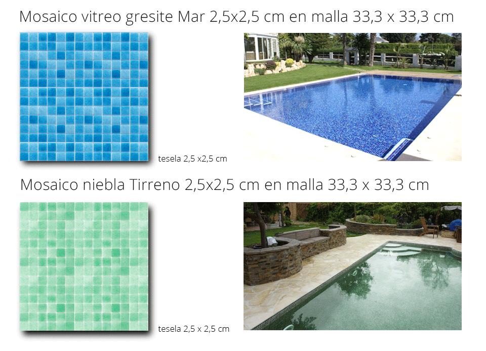 gresite de piscina mosaico vítreo verde y azul