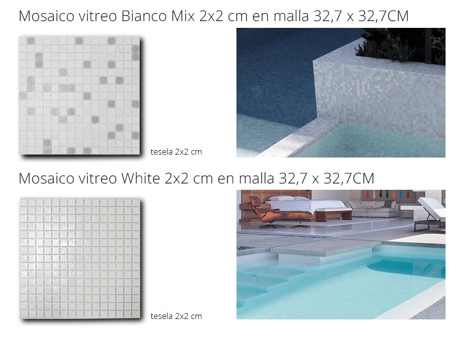 gresite de piscina mosaico vítreo blancos