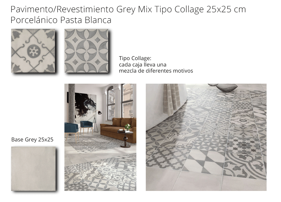 pavimento revestimiento grey mix porcelánico pasta blanca codicer