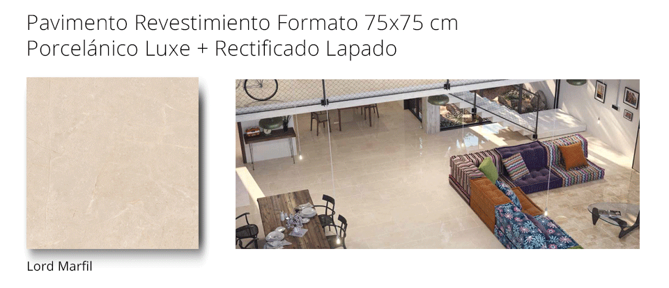 Pavimento revestimiento Lord Marfil pulido 75x75 cm porcelánico rectificado