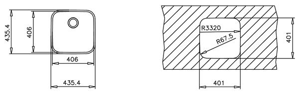 Fregadero 1 cubeta bajo encimera 40.40 Teka