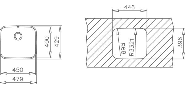 Fregadero 1 cubeta bajo encimera 45.40 Teka