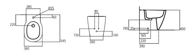 Cotas bide a suelo Connect Ideal Standard