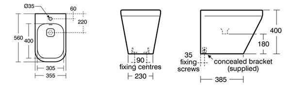 Cotas bide Tonic II de Ideal Standard