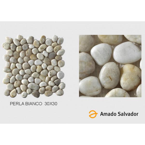 Canto Rodado Perla Bianco 30x30 cm colección Perla enmallado