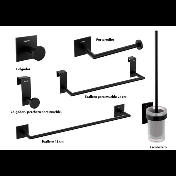Accesorios de baño Negro Mate Stick de Bath+ (Adhesivos)