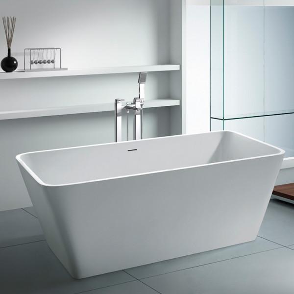Bañera decorativa exenta solid surface 148x67 cm blanco mate