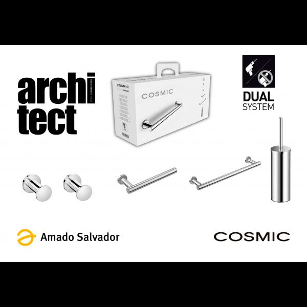 Architect PACK Cosmic de instalación Dual: Compuesto por dos colgadores, toallero, portapapel y escobillero cromo