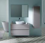 Conjunto Mueble de baño GLASS LINE lavabo sobre encimera madera + espejo varios acabados