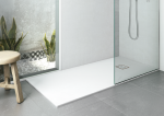 Plato de ducha antideslizante EVOL Solidstone de resina textura piedra