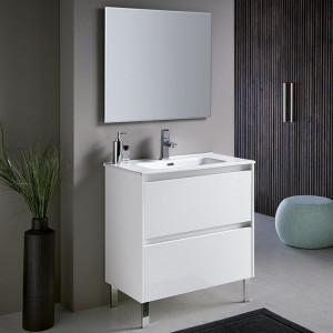Mueble de baño a suelo DECO LINE 80cm blanco brillo con encimera ceramica