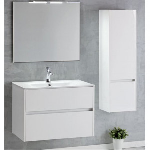 Mueble de baño suspendido DECO LINE 80cm con espejo y encimera ceramica