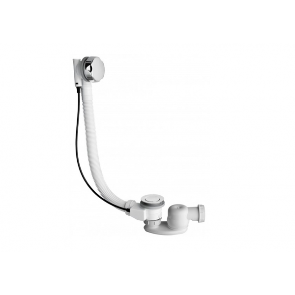 Desagüe de bañera automático con sifón orientable cromado en latón