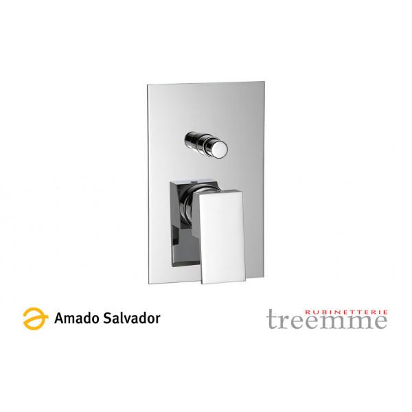 Mezclador monomando 5649-CC cromo empotrado para baño/ducha parte interna y externa. Diseño exclusivo de TREEMME.
