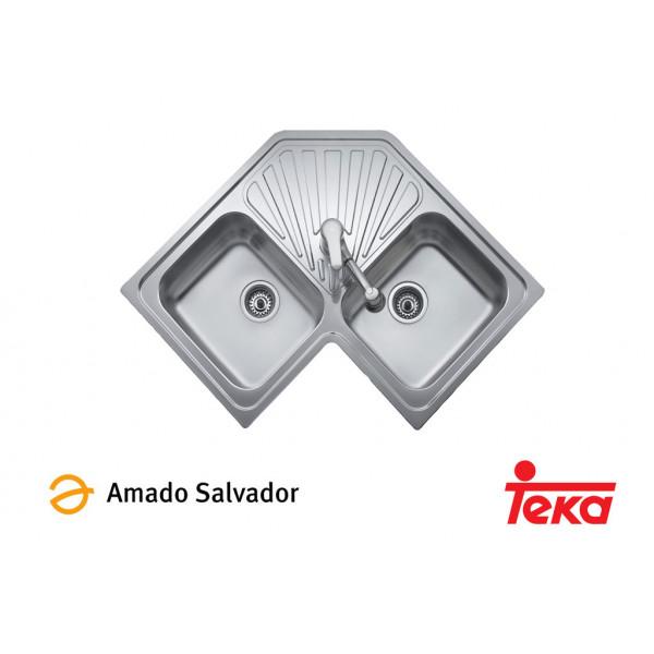 Fregadero Angular dos cubetas más escurridor 810x810mm con orificio para grifería Teka