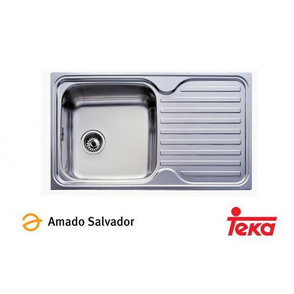 Fregadero Classic 1C.1E  1 cubeta + 1 escurridera derecha  860x500mm con orificio para grifería Teka
