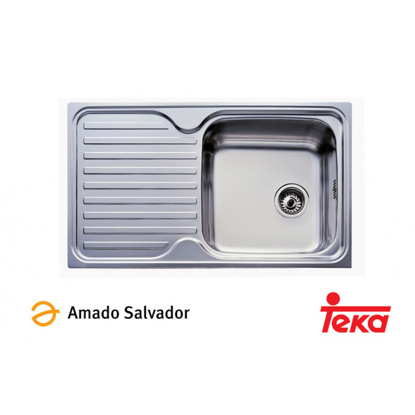 Fregadero Classic 1C.1E  1 cubeta + 1 escurridera izquierda 860x500mm con orificio para grifería Teka