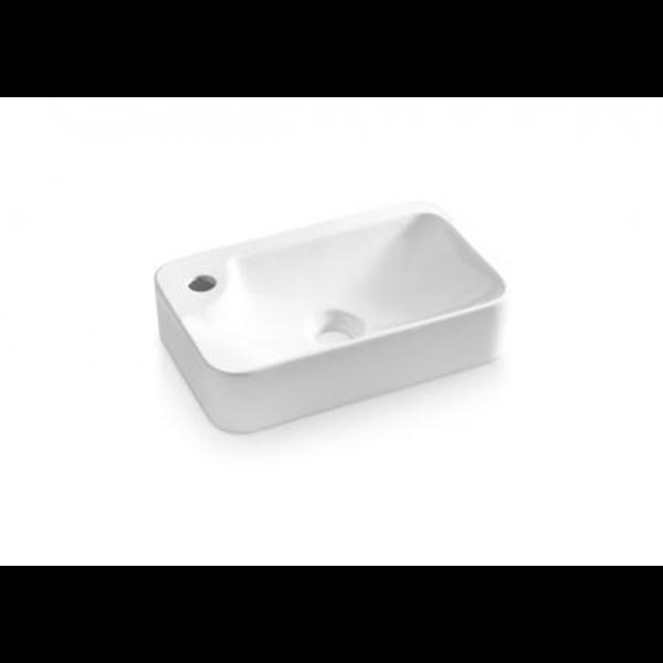 Lavabo ALICANTE suspendido o sobre encimera fondo reducido blanco