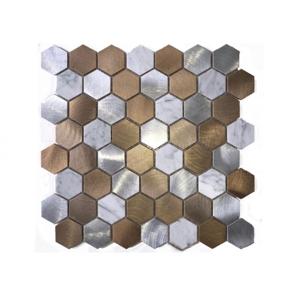 Mosaico enmallado PODIUM MIX  29,5x29,5cm Hexagonal