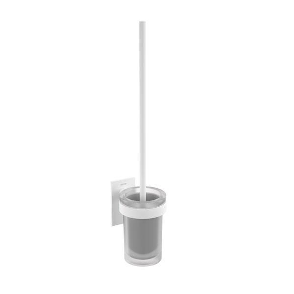 Escobillero adhesivo a pared blanco mate y cristal Stick Bath+