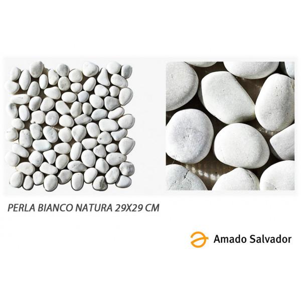 Canto Rodado Perla Bianco Natural Enmallado 29x29 cm Lombok