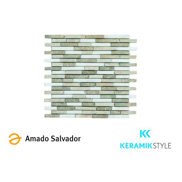 Mosaico enmallado AFYON 29X32,5cm Piedra
