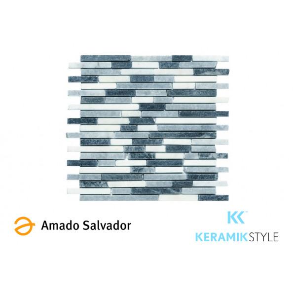 Mosaico enmallado AFYON  GREY 29X32,5cm piedra